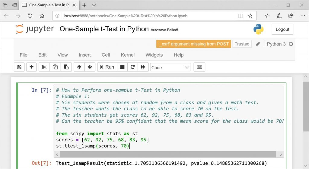One-Sample t-Test in PYthon