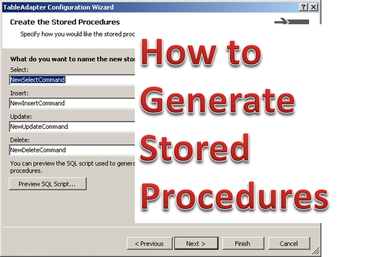 How to Generate Stored Procedure Automatically From Visual Studio