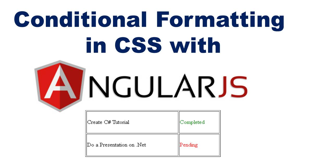 What is Conditional Formatting in CSS and How to do it With AngularJS (ng-class)