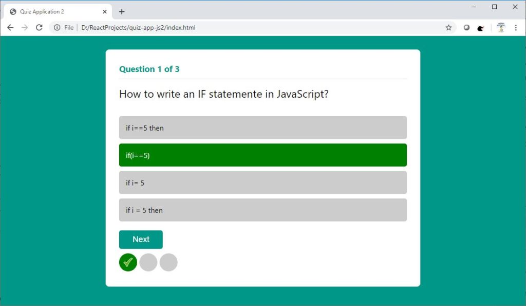 Quiz Application in JavaScript with Validation