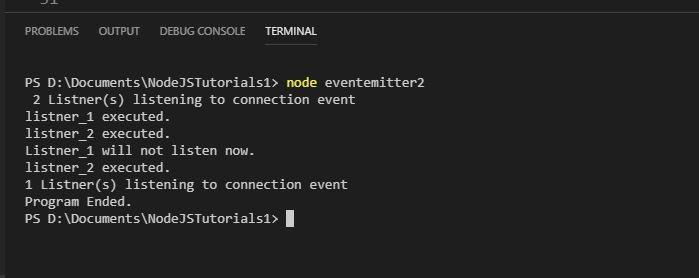 Event Emitter Listener Output